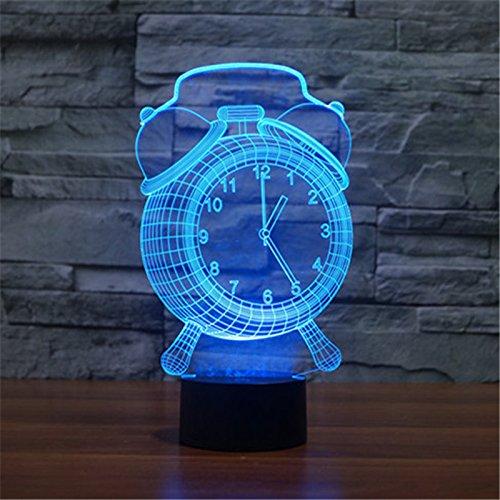 Boda en San Valentín Navidad y regalos de cumpleaños 3D táctil 7 Lámpara de mesa colorido color cambiante luz de noche para los niños despertador