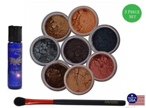 ITAY Mineral Cosmetics Liquid Bond+Best 4 Blue Eyes 8 Stack Eye Shimmers+ Oval Eye Shimmer Brush (Bundle of 3 Items) by ITAY Mineral Cosmetics