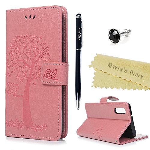 Huawei P20 Hülle Case Mavis's Diary Eule Baum Muster Leder Tasche Handyhülle Flip Cover Schutzhülle Lederhülle Skin Ständer Schale Handytasche Bumper Holster Magnetverschluss Klappbar Ledertasche-Rosa