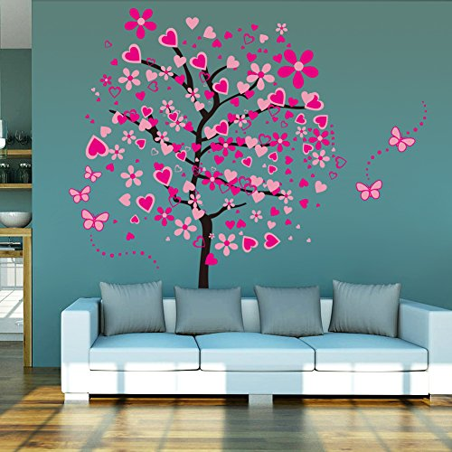 ElecMotive Riesige Herz Baum Schmetterling Abnehmbare Wandaufkleber Wandtattoo Wandsticker Aufkleber DIY für Wohnzimmer Schlafzimmer Kinderzimmer mit Geschenkkarton - 2