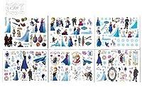 CJB Frozen - 6 hojas de tatuajes temporales Elsa y Anna, 90 diseños diferentes de CJB