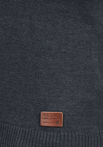 BLEND Legolas Herren Strickpullover Pullover Grandad-Ausschnitt Feinstrick Navy (70230)