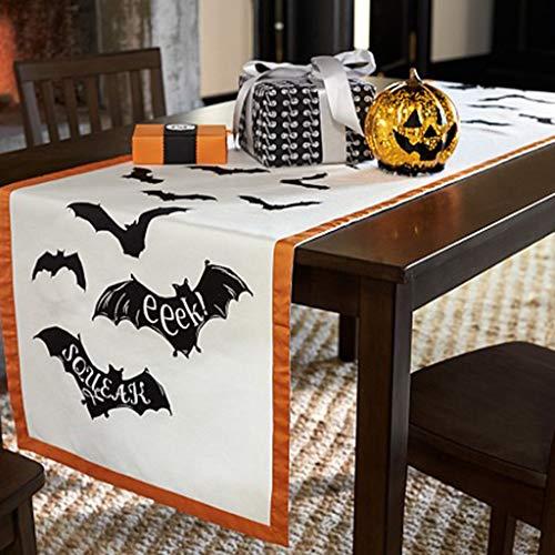 TG Holiday Spirit of Halloween Fledermaus Tischdecke Baumwolltuch Dekoration Tischdecke Festliche Party Supplies, Perfekt Für Halloween, Dinner Parties Und Scary Movie Nights