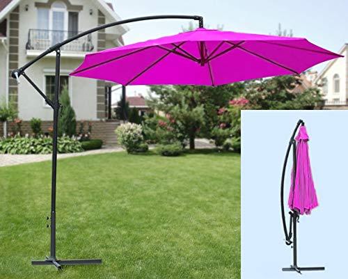 IMC Manufactoria Ampelschirm pink - Magenta inklusive Schirmständer mit Kurbel/knickbar - Sonnenschirm ca. 300 cm Ø