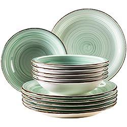Domestic by Mäser Serie Bel Tempo, Vajilla 12Piezas, para 6Personas, Porcelana, 30x 40x 40cm, 12Unidades, Porcelana, Verde Claro, 30 x 40 x 40 cm
