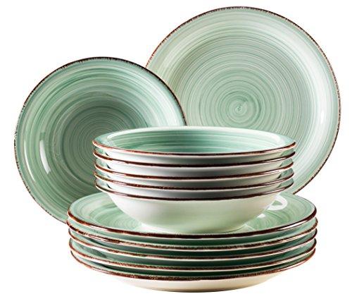 Mäser, Serie Bel Tempo, Teller-Set aus Steingut, 12-teilig für 6 Personen, Tafelservice Vintage, handbemalt, hellgrün