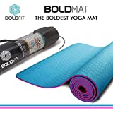 BoldFit Pro-Grip Luxury TPE Yoga mat with Carrying Bag (6mm) Extra Thick and Ideal for Men and Women. Anti-Tear, Anti-Slip & Extra Cushion