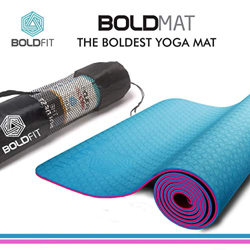 Boldfit Yoga Mat TPE for women and men all purpose 6mm Extra Thick Exercise Mats for Workout Yoga Fitness Pilates Meditation and Floor Exercises, Anti-Tear Non-Slip Extra-cushion eco friendly Mat with carrying Bag. Premium Quality