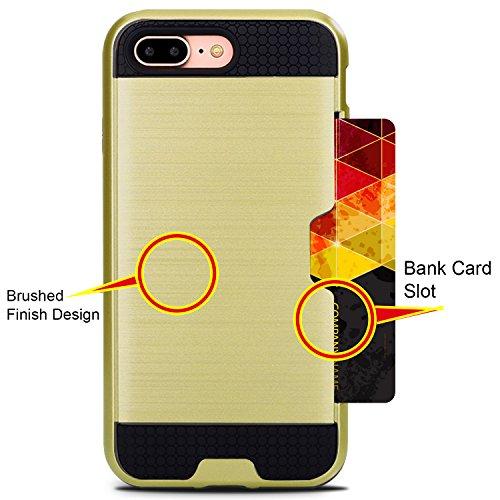 Coque iPhone 7 Plus avec 2 Housses Interchangeables (Rouge & Or Rose) avec Fente pour Carte & Protecteur d'écran (Blanch) Meilleure 360° Protection Case d'absorption de haute qualité, Garantie de Vie 2 in one case (Black and Gold Cases) with Black Screen