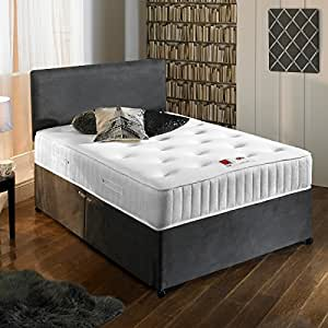 Sleep Factory Ltd New Charcoal Grey Luxury Suede Divan Bed Set With Orthopaedic Tufted Mattress With 2 Free Drawers & FREE Headboard 4FT Small Double Size