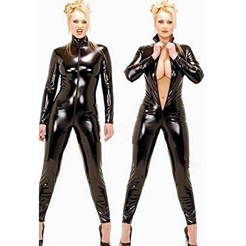 Mirlun Schwarz Sexy Frau Latex Catsuit Schick Bodysuit , xxl