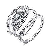 JewelryPalace 3 Stone Princess Cut 1.2ct Zirkonia Jubiläum Versprechen Ehering Verlobungsring Bridal Sets 925 Sterling Silber