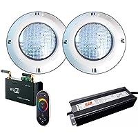 Warmpool Oferta 2 Focos LED RGB con Cable de 4 Hilos para Piscina con Control Remoto Externo WiFi y Transformador 12V DC 60W
