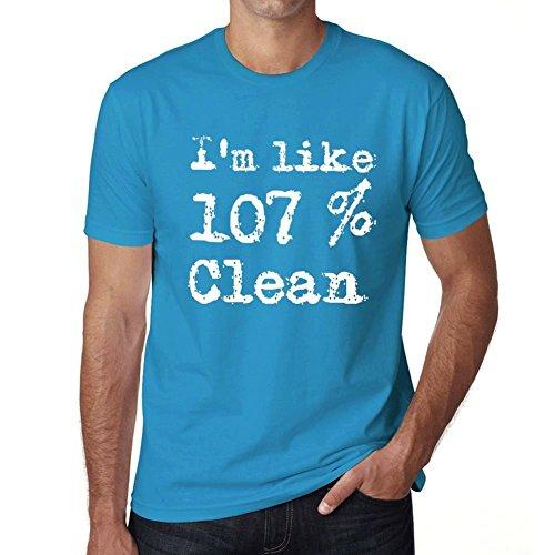 I'm Like 107% Clean, ich bin wie 100% tshirt, lustig und stilvoll tshirt herren, slogan tshirt herren, geschenk tshirt Blau
