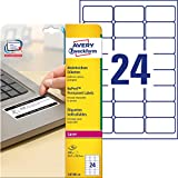 Avery L6146-20 Etichette Non Rimovibili, 24 Pezzi per Foglio, 20 Fogli, 63.5 x 33.9, Bianco