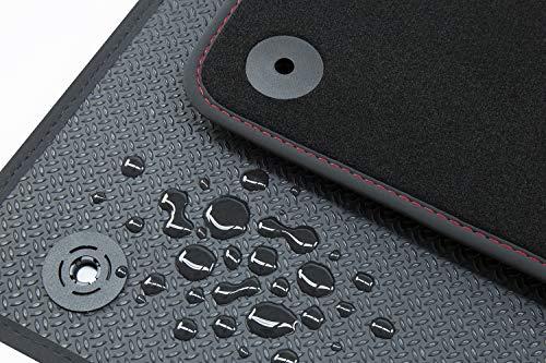 Tuning-Art BWX996 Allwetter Fußmatten, Wasserfeste Gummirückseite, Premium Velours Oberseite, Original Befestigung, 4-teilig, Bandeinfassung und Ziernähte, Farbe Naht:Rot