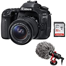 Canon EOS 80D DSLR Camera With 18-55mm Lens Plus Boya By-MM1 Shotgun Video Microphone And 32GB SDHC Memory Card