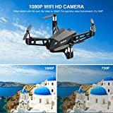WiMiUS Wifi Mini Drone with Camera 8MP FHD 1080P, Live Video Mobile APP Control, Altitude Hold Mode, One Key Take Off / Landing, 3D 360 Flips FPV Quadcopter for Adults & Children Over 14, Black
