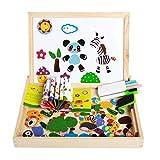 Puzzle Spielzeug Früherziehung Lernspielzeug für Kinder Mädchen Junge Kleinkind Holzspielzeug ab 3 Jahr Baustein Magnetisches Doppelseitiger Tafel schreiben malen Zeichnung vorschule Kindergarten