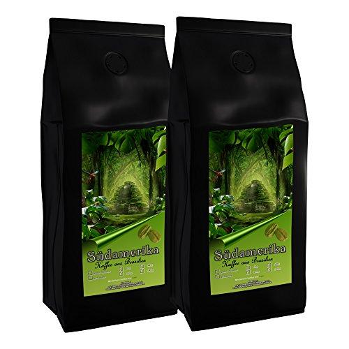 Kaffee Café Crema Brasil, mild & aromatisch, schonende Mischung aus Brasilien ganze Bohne, 1000 g, (2 x 500 g)