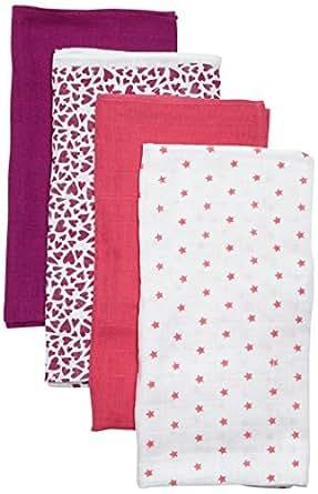 Care Baby Mullwindeln / Spucktücher im 4er Pack, 70x70 cm, All over print, Gr. One size (Herstellergröße: 70X70), Mehfarbig (Hot Pink 598)