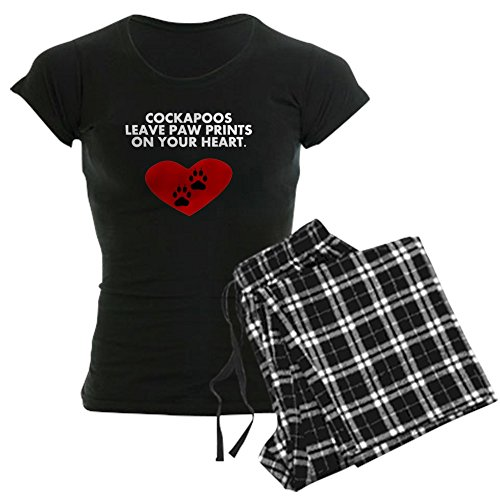 CafePress Cockapoos Leave PAW Prints On Your Heart Pajamas - Womens Novelty Cotton Pajama Set, Comfortable PJ Sleepwear