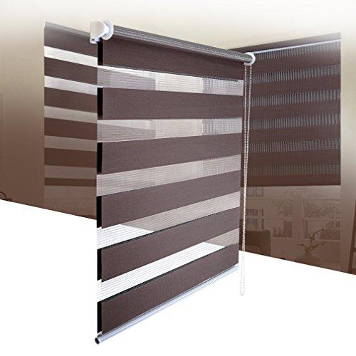 SHINY HOME® Duo Rollo Doppelrollo Klemmfix Fensterflügel mit Klemmträger Lichtundurchlässig Raffrollo ohne Bohren Sonnenschutzrollo Verdunklung Fensterrollo für Fenster oder Tür 100x150cm Kaffee - 3