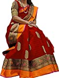 Rudra Sarees Women's Cotton Silk Saree With Blouse Piece (Sarees C8 _Red_ Free Size)