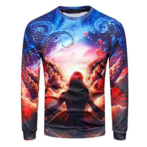 MRULIC Herren Pullover Herbst Pullover Shirt Top 3D Blumendruck Design Oktoberfest Halloween Kostüm(H-Mehrfarbig,EU-44-46/CN-M)