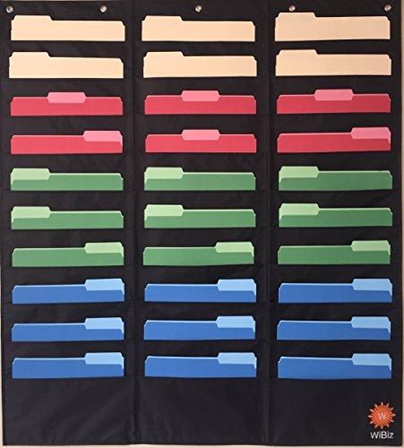 30Tasche Diagramm Hängeregistratur Cascading Veranstalter (schwarz) von wibiz Büro-Perfekt für Klassenzimmer, Schule, Büro Oder Zuhause-Organisieren Ihre zuweisen, Dateien, PAPER & mehr - Diagramm Hören