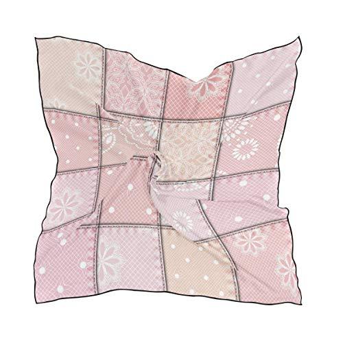 Xukmefat Pink Flower Plaid Pattern Damen Polyester Square Scarf Chiffon Lightweight Neck Kopftücher