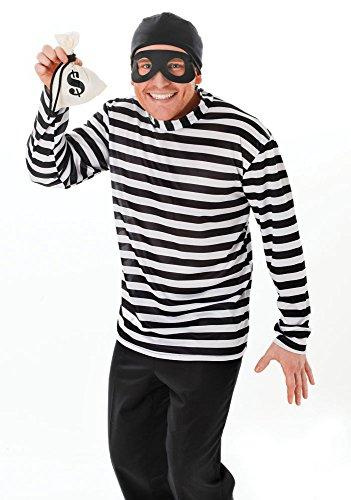 Bristol Novelty Ac162Einbrecher Kostüm, weiß, (Shirt Gefangener Kostüm)