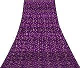 Svasti filigrana damasco Seta pura Saree viola damasco Tessuto Sari stampato artigianali indiani