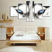 POILKJ Imprimez Cinq Panneaux sur Toilepeinture À l'huile Peinture À l'huile Murale Yeux De Loup