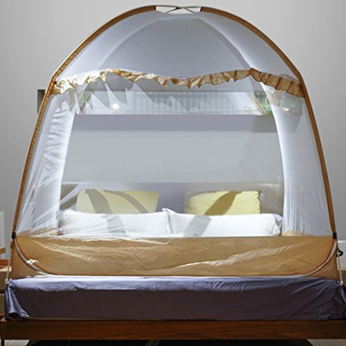 Pop-up falten Moskitonetz Feine Netting Schutz Bett Baldachin mit drei Öffnungen geeignet für Outdoor Home Anti Insekt Sommer Bettwäsche voller Größe ( Farbe : Braun , größe : 1.2m(4ft) ) (Baldachin Bettwäsche Bett Voll)