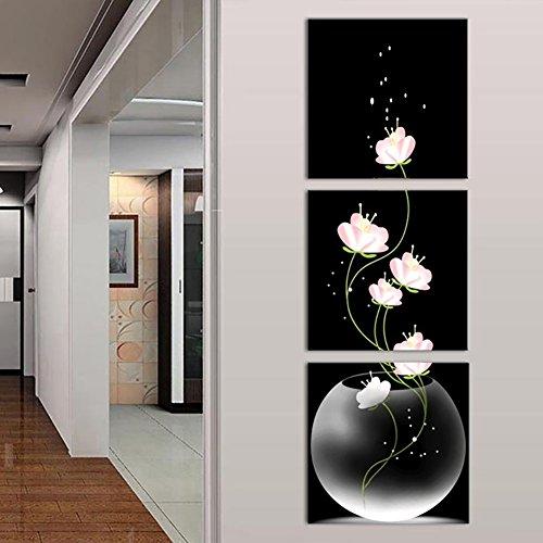 WuWxiuzhzhuo Räumungsverkauf 3 Panels Ungerahmt Vase mit Blumen Leinwand Gemälde Bild Wand...