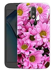 """Humor Gang Pink FlowersPrinted Designer Mobile Back Cover For """"Motorola Moto G4"""" (3D, Matte Finish, Premium Quality, Protective Snap On Slim Hard Phone Case, Multi Color)"""