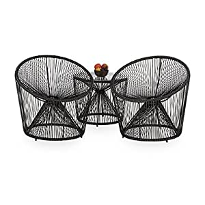 relaxdays fauteuil de jardin deluxe r tro fil lot de 2 en plastique fil balcon r sistant mexico. Black Bedroom Furniture Sets. Home Design Ideas