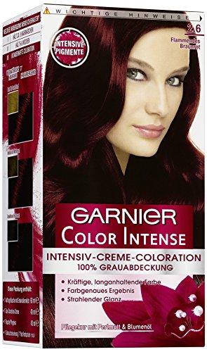 Garnier Color Intense, 2.6 Flammendes Braunrot, Dauerhafte Intensive Creme Coloration für permanente Haarfarbe (mit Perlmutt und Traubenkernöl) 3er Pack (3 x 1 Stück)