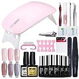 uv nagellack Starter Set Kit von Modelones mit UV/LED lichthärtungsgerät mini nageltrockner top coat & base coat und 6 Gellacke
