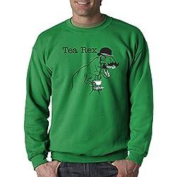 Crazy Dog Tshirts - Tea Rex Funny Dinosaur Drinking Tea Unisex Crew Neck Sweatshirt (Green) XXL -