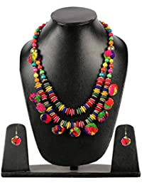 The Indian Handicraft Store Add Trendy Pom Pom Double Necklace And Earring Set For Women And Girls (Mehandi /...