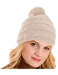 Ladies Natural Oatmeal Knitted Bobble Beanie Hat GL203