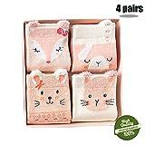 Morbuy Kinder Baumwolle Socken, Tiermuster Baby Winter Weihnachten Söckchen Weiche Dicke Damen Baumwollsocken Warme Wintersocken 4 Paar 1er Box (S(1-3 Jahre), Katze)