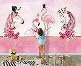 BHXINGMU Benutzerdefinierte Tapeten Wanddekoration Rosa Paar Flamingo Einhorn Raumdekoration Für Kinder Und Kinder 280Cm(H)×400Cm(W)