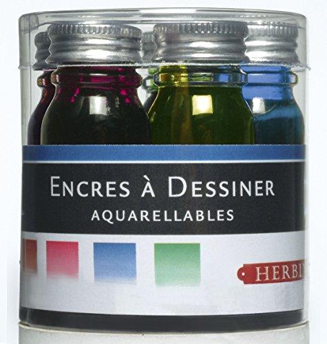 Herbin 12001T - Set de 5 Flacons 10ml d'Encre à Dessiner Orange/Rouge/Fuschia/Bleu/Vert