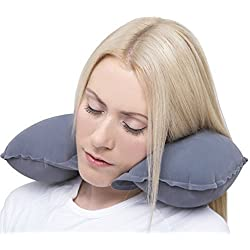 FAMEWORLD 3 in 1 Super soft travel neck pillow Easy to Carry Multi Utility Travel Kit - Inflatable Neck Air Cushion Pillow with Eye Mask & 2 Ear Plugs