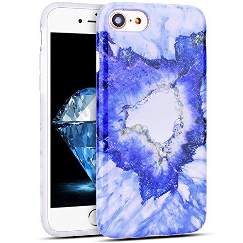 Custodia iPhone 7, RosyHeart Modello Marmo Candy Silicone TPU Morbido Cover per iPhone 7 (4.7 pollici) Elegant Ultra Sottile Copertura Opaco Leggero Gel Bumper Antiurto AntiGraffio Gomma Protettiva Ce Blu