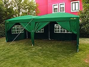 helios deluxe gartenpavillon mit 4 seitenteilen 6x3 m wasserdicht mit windschutz grun. Black Bedroom Furniture Sets. Home Design Ideas