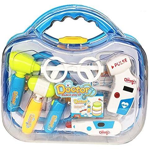 Pretender Maletín de médico Juguetes Kit de aprendizaje de regalos Juegos de rol Juegos con 10 PCS para Niños Niñas Edad 3 y